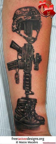 Memorial Army Tattoo On Arm by Mattie Macabre