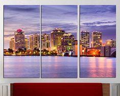 Florida wall art USA cityscape and square home decor Palm Beach photo print Framed canvas art Ready to hang City multi panel art