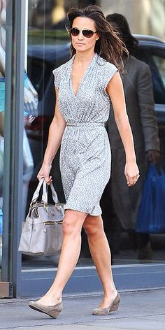 Pretty gray dress and low wedges