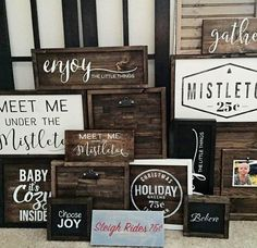 Christmas/ Winter Signs for Farmhouse style porch signs 15 Easy DIY Christmas Signs for the Merriest Front Porch Christmas Projects, Christmas Crafts, Christmas Decorations, Christmas Christmas, Holiday Signs, Christmas Signs On Wood, Christmas Sayings, Holiday Ideas, Navidad Diy