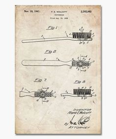 Look at this Vintage Parchment Toothbrush Patent Print on #zulily today! #patentartprints  #PatentArtGifts