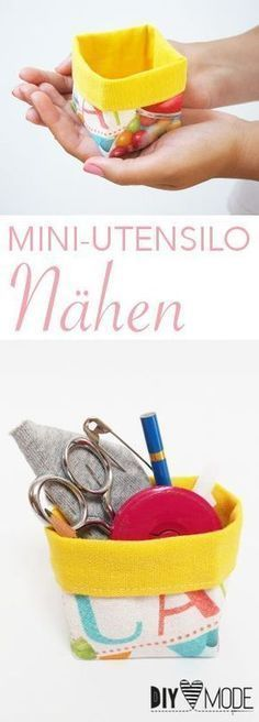 Mini-Utensilo nähen mit Schnittmuster - HANDMADE Kultur In this DIY MODE sewing guide I will show you how to sew a mini utensil. There is a ready-made pattern for the utensil so that you can concentra Baby Knitting Patterns, Sewing Patterns Free, Pattern Sewing, Diy Fashion No Sew, Fashion Sewing, Pochette Diy, Bunny Crochet, Costura Diy, Diy Mode