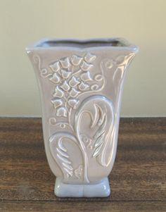 Vintage Gray Floral Vase / Vintage Flower Vase by LeBrunDesignsInc