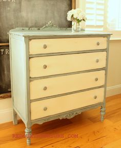 Laverne the Spring Dresser.  Two tones of paint, CeCe Caldwells Vintage White and a blend of Cece Caldwells Blues.  Clear Wax finish.  Check out the before, she was so dark and dreary!  REDOUXINTERIORS.COM FACEBOOK:REDOUX