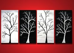 Tree Branch Painting, HUGE Original wall art, Black and White Home Decor Abstract canvas 48x24, Ready to hang, Elegant birds  Trees, Art. $245.00, via Etsy.