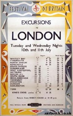 North-east bus timetable for coach excursions to the 1951 Festival of Britain in London.