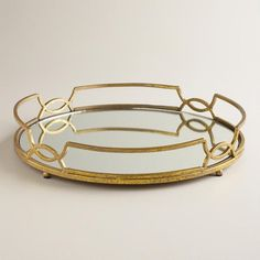 gold mirrored tray / world market