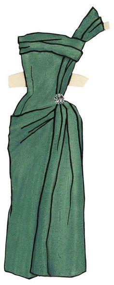 Yves Saint Laurent - Paper Dolls - 1953-55 - Robe de Cocktail 'Cordélia'