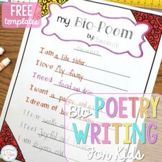 Poetry Writing for Kids: Bio Poems that Kids Love – Proud to be Primary