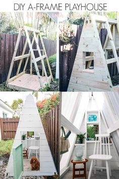 DIY A Frame Play House. This outdoor playhouse is easy and cheap to make and is perfect for boys or girls. How to build a backyard playhouse for kids that is simple with cute decor. Do it yourself! My toddler loves this space to play! Click through for the full tutorial and shopping list