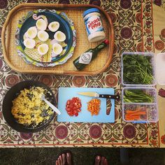 Best Campsite lunch: deviled eggs, Triscuits, chef in flip-flops.