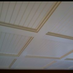 Coffered Ceiling. Not too big of a beam. Good for kitchen