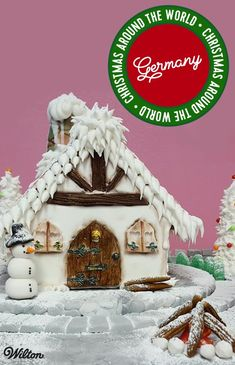 Gingerbread Around the World: Germany - We've invited our international distributors to join in our holiday celebrations by decorating a gingerbread house for the holidays! This gingerbread house is from Wilton Method Instructor Karin Groß-Bergrath of the baking supply store Mein Zuckerstübchen in Germany.