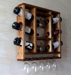 Wine Glass Rack, Rustic Wine Racks, Wine Rack Wall, Wine Rack Design, Pallet Wine, Wine Storage, Wine Shelves, Wine Bottle Holders, Wine Cabinets