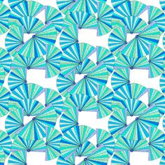 Fans, blue and green, irregular fabric by su_g on Spoonflower - custom fabric
