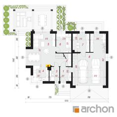 Projekt domu Dom w rododendronach 15 (G2N) - ARCHON+ Modern, Pergola, New Homes, Floor Plans, Exterior, House Design, Projects, Trendy Tree, Outdoor Pergola