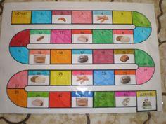 Materialen: speelbord, pionnen, een dobbelsteen met patronen. Leuk bakkerspel voor kleuters, woordenschat Regels:Elke beurt, de kinderen gooien de dobbelstenen en verplaats het aantal overeenkomstige patronen. Aangekomen op de doos, moeten ze de naam van het brood daarin zeggen. (Wit brood, bruin brood, stokbrood enz.) Als het antwoord juist is, het kind blijft in het vak als het antwoord fout is het terug een vak (maximaal 3). Het eerste bij de bakkerij gewonnen.