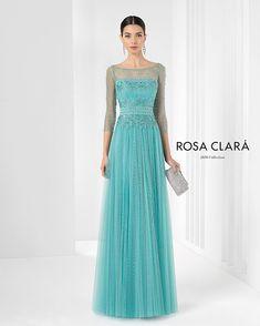 Vestido Rosa Clará celeste fiesta largo