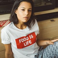 """NEW T-shirt coeur """"Food is life"""""""
