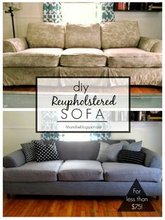Tutorial DIY couch reupholster with a canvas drop cloth Turn an old worn out couch brand new for less than 75 Such a cheap and easy way to update your entire living room Furniture Projects, Furniture Makeover, Home Furniture, Sofa Makeover, Modern Furniture, Furniture Dolly, Upholstered Furniture, Furniture Stores, Cheap Furniture