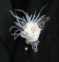 Wedding boutonniere. Groom Boutonniere, Buttonhole. Ceremony Groom Flower on Etsy, $30.00