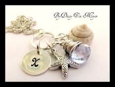 Personalized Necklace - Hand Stamped Jewelry - Amethyst Gemstone Silver Star