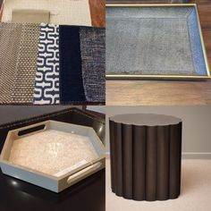 Side table to complement trays and fabrics for current project.