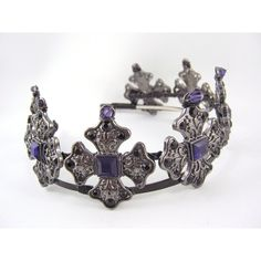 The Iron Lady - Deep Purple Gunmetal Iron Cross Crown (1.140 DKK) ❤ liked on Polyvore featuring accessories