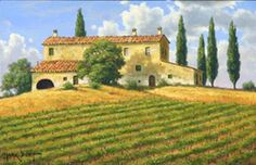 Mark Pettit (Texas Vigna vicino a Montalcino Country Art, Wine Country, Tuscany Vineyard, Scenery Paintings, Carmel California, Cool Art, Fun Art, Beautiful Landscapes, House Styles