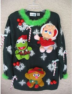 """Muppets Ugly Holiday Sweater Needing ideas for a FUN Ugly Christmas Sweater Party check out """"The How to Party In An Ugly Christmas Sweater"""" at Amazon.com"""