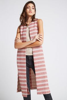 BCBGeneration Patterned Long Side Slit Open-Front Vest - Tandori Spice - $54.00