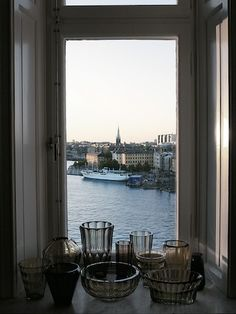 gustafson5Apartment in Stockholm.....and what great views of Stockholm's waterfront.