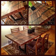 Custom Dining Table - reclaimed wood with metal legs on wheels.  Family Style. Designed by Andrew McGuire. @deepfrieddesigns. Austin, TX. andrew.deepfried@gmail.com