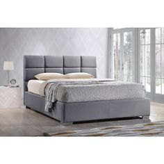 Baxton Studio Sophie Modern and Contemporary Grey Fabric Upholstered Platform Bed    Overstock.com Shopping - The Best Deals on Beds
