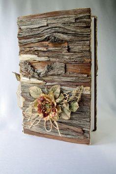 Wedding/Album/Wood wedding album/Rustic album/Burlap album/Wooden Album/Rustic album/Cedar bark/Scrapbook/Rustic wedding album/