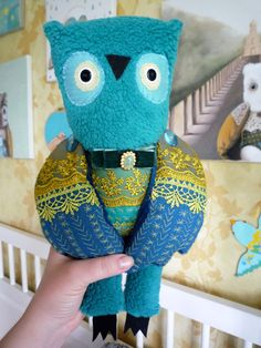 Carlos Owl soft art creature toy by by wassupbrothers on Etsy, $150.00