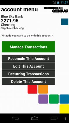 Action menus make using Checkbook Genius easy. This one, for Accounts, lets you manage transactions, make changes to the account, or manage recurring transactions.