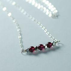 Sterling Silver Garnet Gemstone Necklace by figgylanejewelry, $32.00