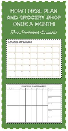Get a grip on meal planning and grocery shopping once and for all. Do it just once a month! Click on the pin to see how and to download 2 free printables!