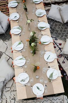 Mixing neutral shades with a few easy floral accents is the perfect way to bring timeless elegance to your end of summer soirée.