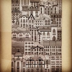 Fine-line pen drawing. Art and architecture