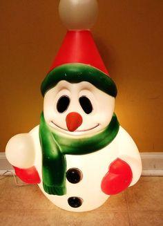 "Vintage 24"" Blow Mold Snowman General Foam Plastics Christmas Electric Plug In"