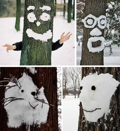 snow drawings, funny faces