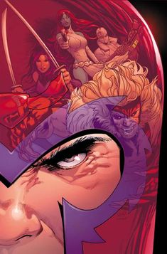 Astonishing X — Uncanny X-Men by Greg Land, Magneto with Sabertooth, Mystique and others in the reflection of his helmet. Comic Book Characters, Comic Book Heroes, Marvel Characters, Comic Character, Comic Books Art, Comic Art, Marvel Comic Universe, Marvel Comics Art, Comics Universe