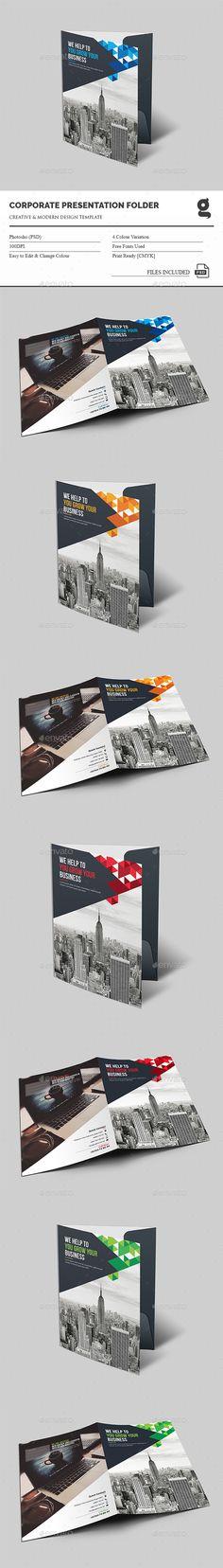 Corporate Presentation Folder Design Template - Stationery Print Template PSD. Download here: https://graphicriver.net/item/presentation-folder/16718414?s_rank=7&ref=yinkira