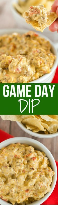 This game day dip is perfect football food - only 5 ingredients and you throw them all in the slow cooker! An easy, cheesy dip!