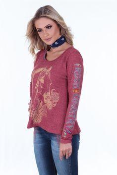 Camisa Country Feminina Vermelha Roar Camisa feminina cor