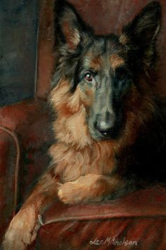 LEE MITCHELSON German Shepherd paintings, German Shepherd dog paintings ANGUS - Oil