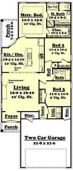 Lefleur House Plan Narrow Lot House Plans, Garage House Plans, Bungalow House Plans, House Plans One Story, Shotgun House Plans, House Floor Plans, Car Garage, Modular Homes, Prefab Homes