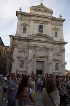 Siena 2 Luglio 2014 - Palio - basilica di Provenzano, where the winner  takes the palio (a hand painted silk banner) to thank God for the victory